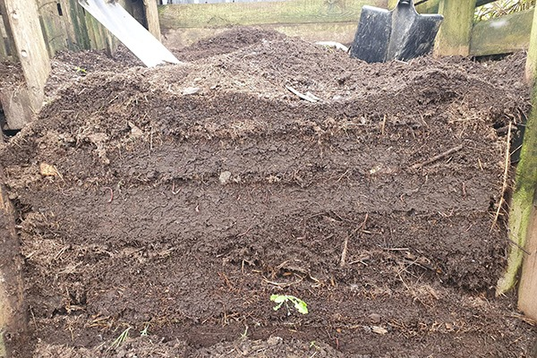 Layers of compost
